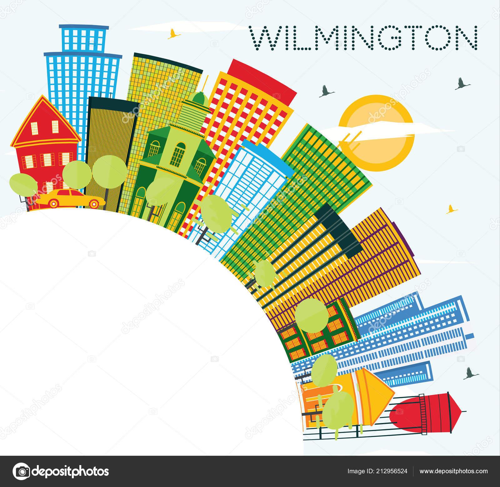 Couleur Avec Bleu Ciel wilmington delaware city skyline avec bâtiments couleur bleu