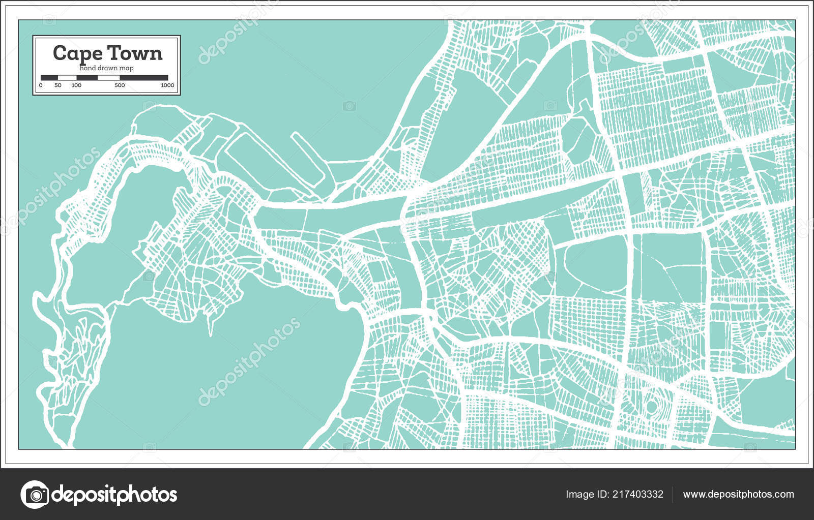 Cape Town South Africa City Map Retro Style Outline Map — Stock ...