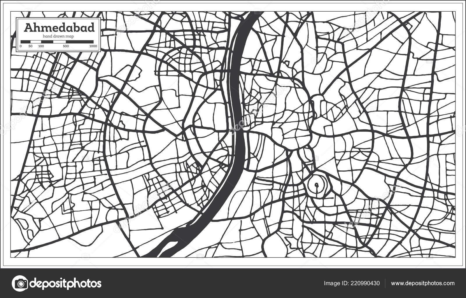 Carte Inde Ahmedabad.Carte Ville Ahmedabad Inde Dans Style Retro Carte Muette