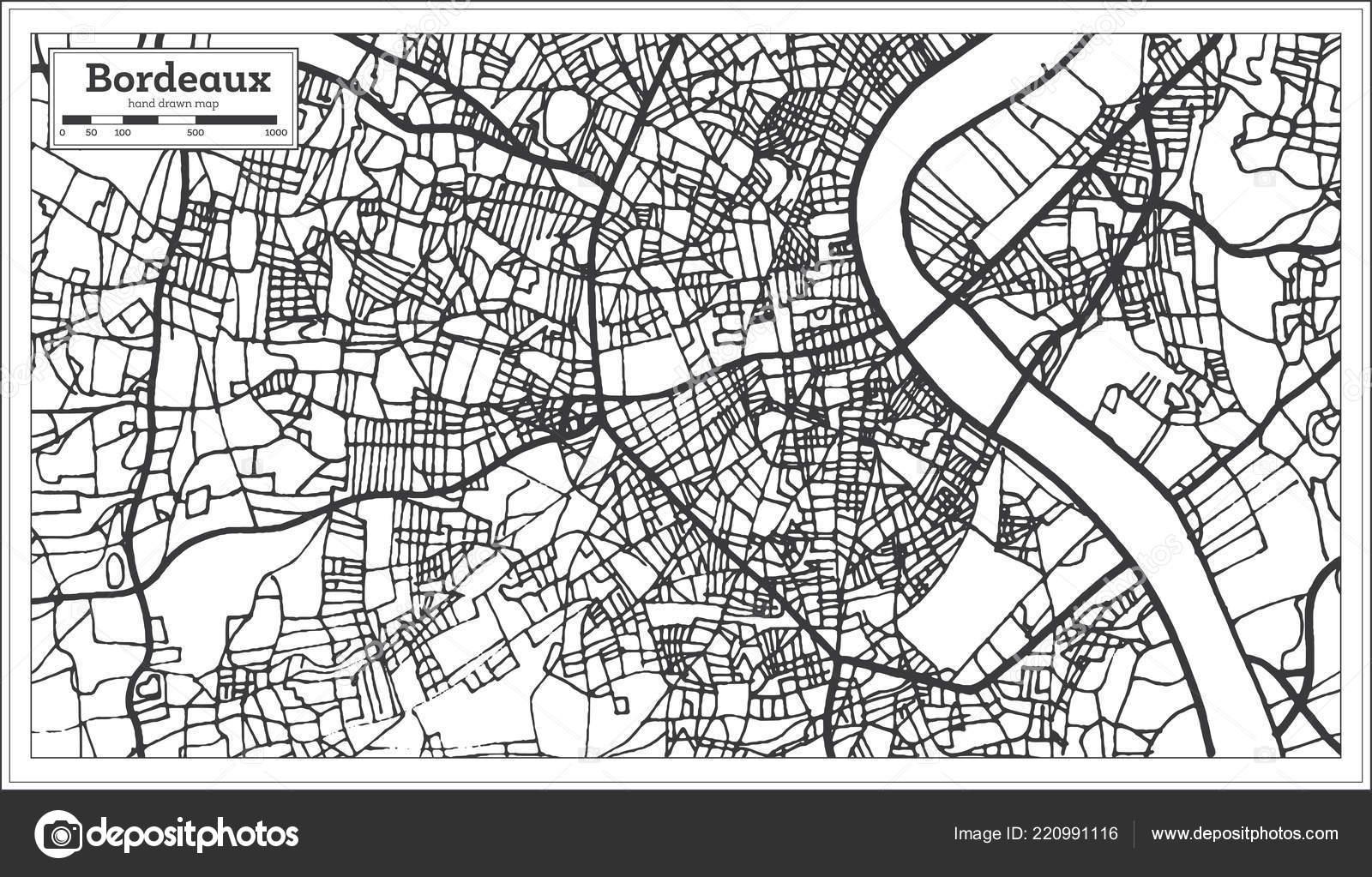 Bordeaux France City Map Retro Style Outline Map Vector Illustration