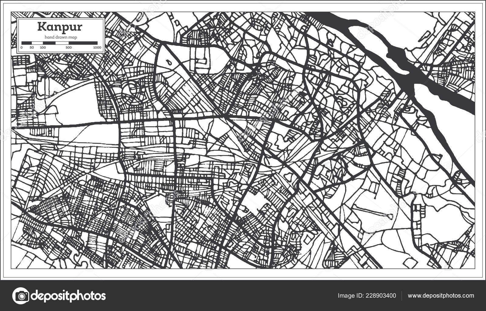 Kanpur India City Map Retro Style Outline Map Vector Illustration