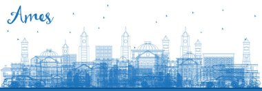 Outline Ames Iowa Skyline with Blue Buildings. Vector Illustration. Business Travel and Tourism Illustration with Historic Architecture.