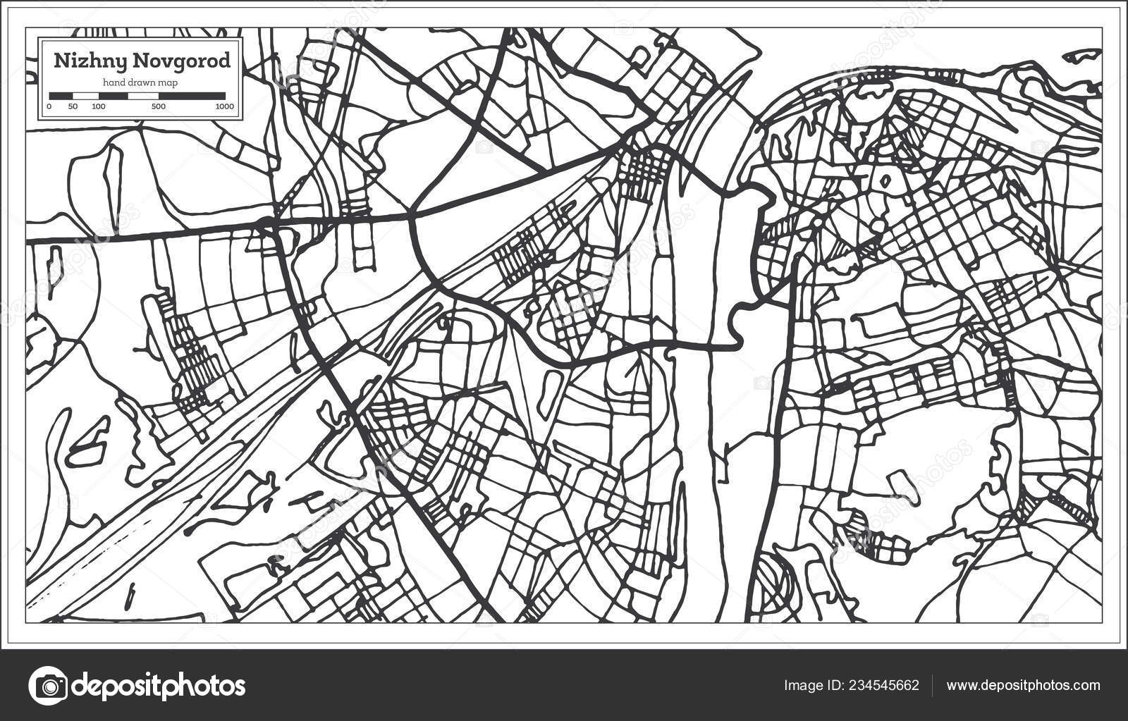Novgorod Russia Map.Nizhny Novgorod Russia City Map Retro Style Outline Map Vector