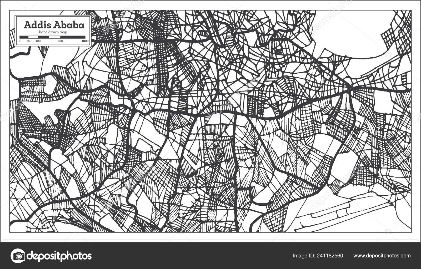 Addis Ababa Ethiopia City Map Retro Style Outline Map Vector — Stock ...