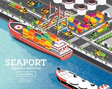 Isometric Sea Port with Container Ship. Gantry Crane Loads Cargo