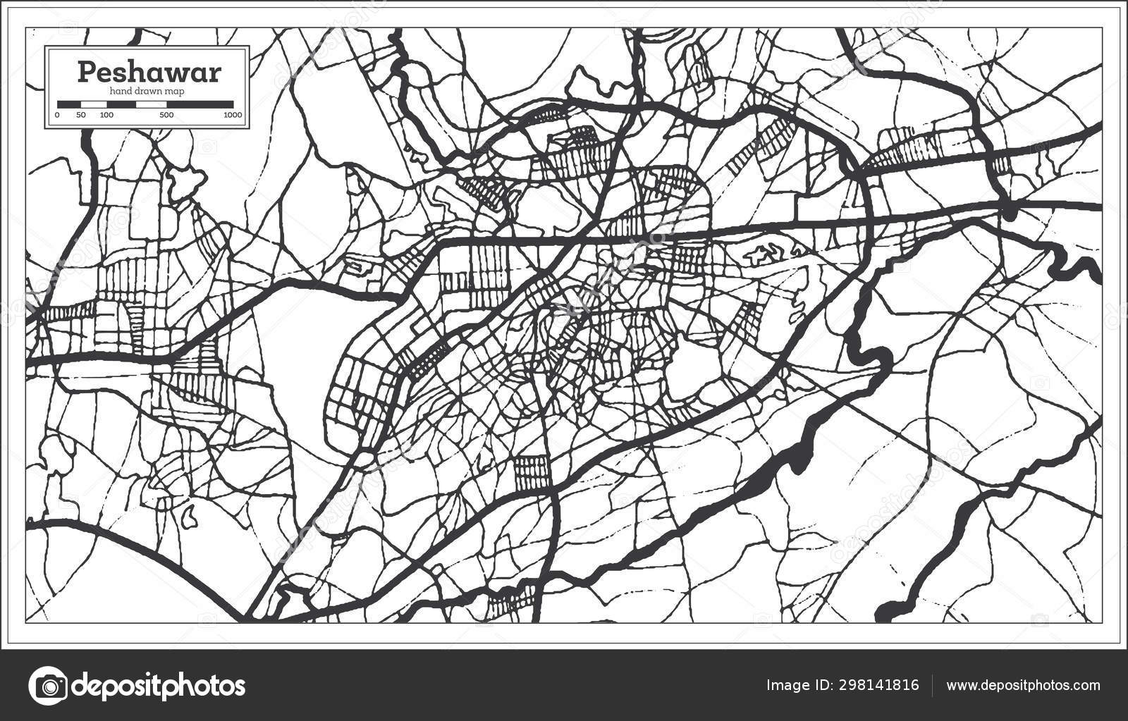 Peshawar Pakistan City Map in Retro Style in Black and White