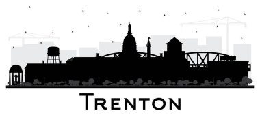 Trenton New Jersey City Skyline Silhouette with Black Buildings Isolated on White. Vector Illustration. Trenton is the Capital of the US State of New Jersey. Cityscape with Landmarks.