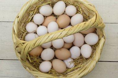 Fresh raw eggs in straw basket.
