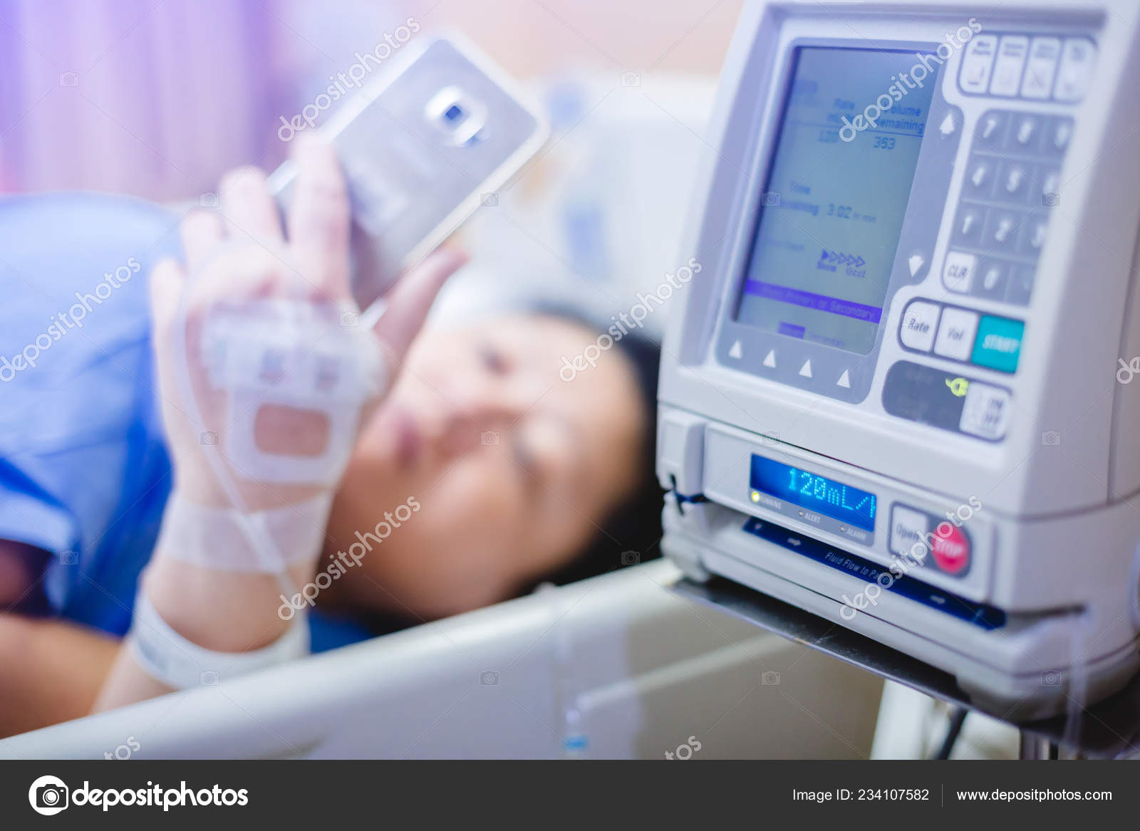 Selective Focus Infusion Pumps Blurry Patient Play Smart