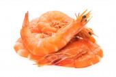 Photo boiled shrimp on white background.