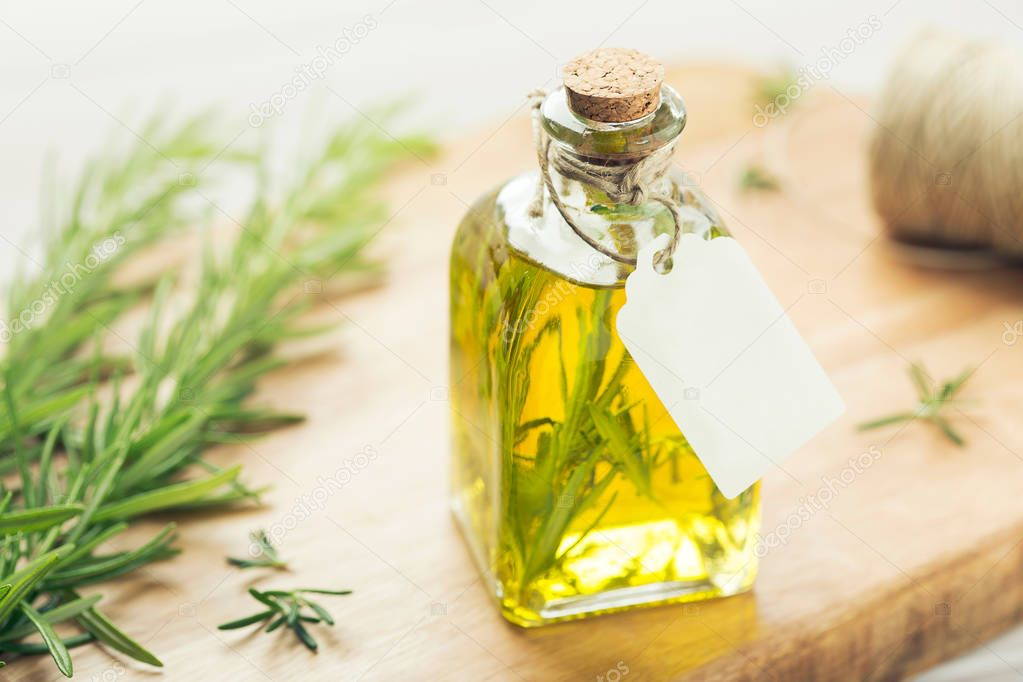 Herbal oil with tag Mock up Rustic style