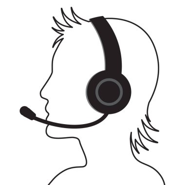 Profile portrait of call center operator with headset. Flat vector illustration icon