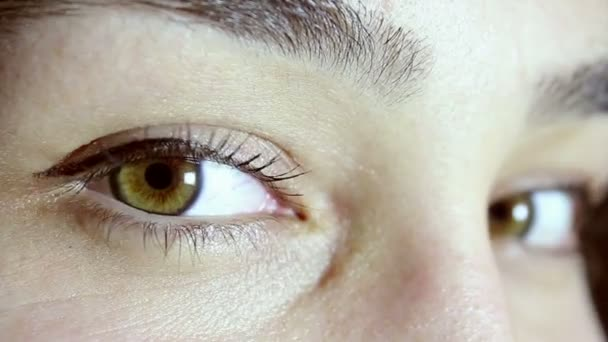 Green and brown eyes of a beautiful young girl. The girl looks into the camera, blinks and smiles.