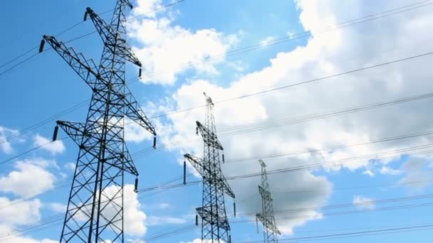 Power lines against the sky. Power line towers.Concept of ecology, environmental protection.