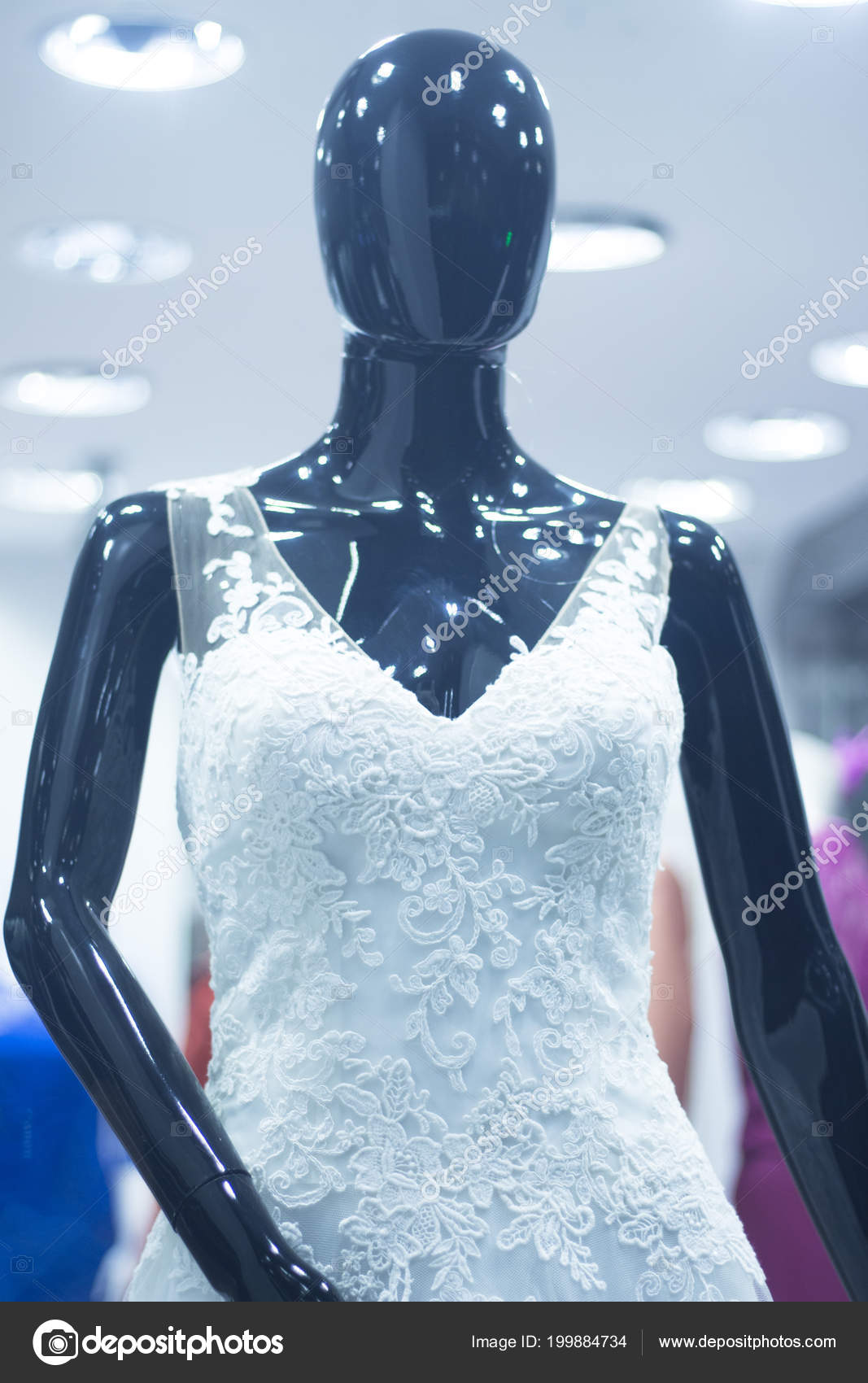 ce75dc2a1614 Bridal Shop Dummy Bride Mannequin Department Store White Wedding Dress–  stock image