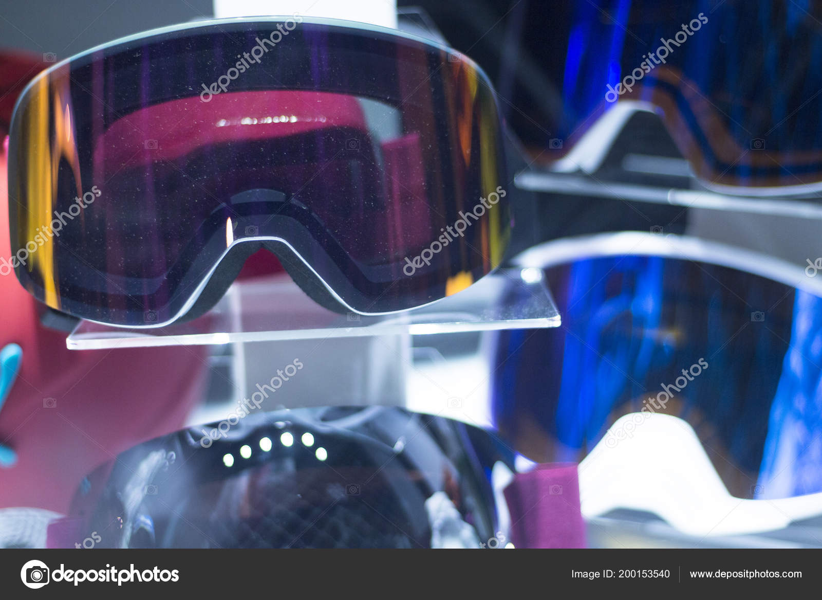 5df21cf434 Modern high technology anti reflection ski and snowboard shop goggles on  sale in store window display. — Photo by edwardolive