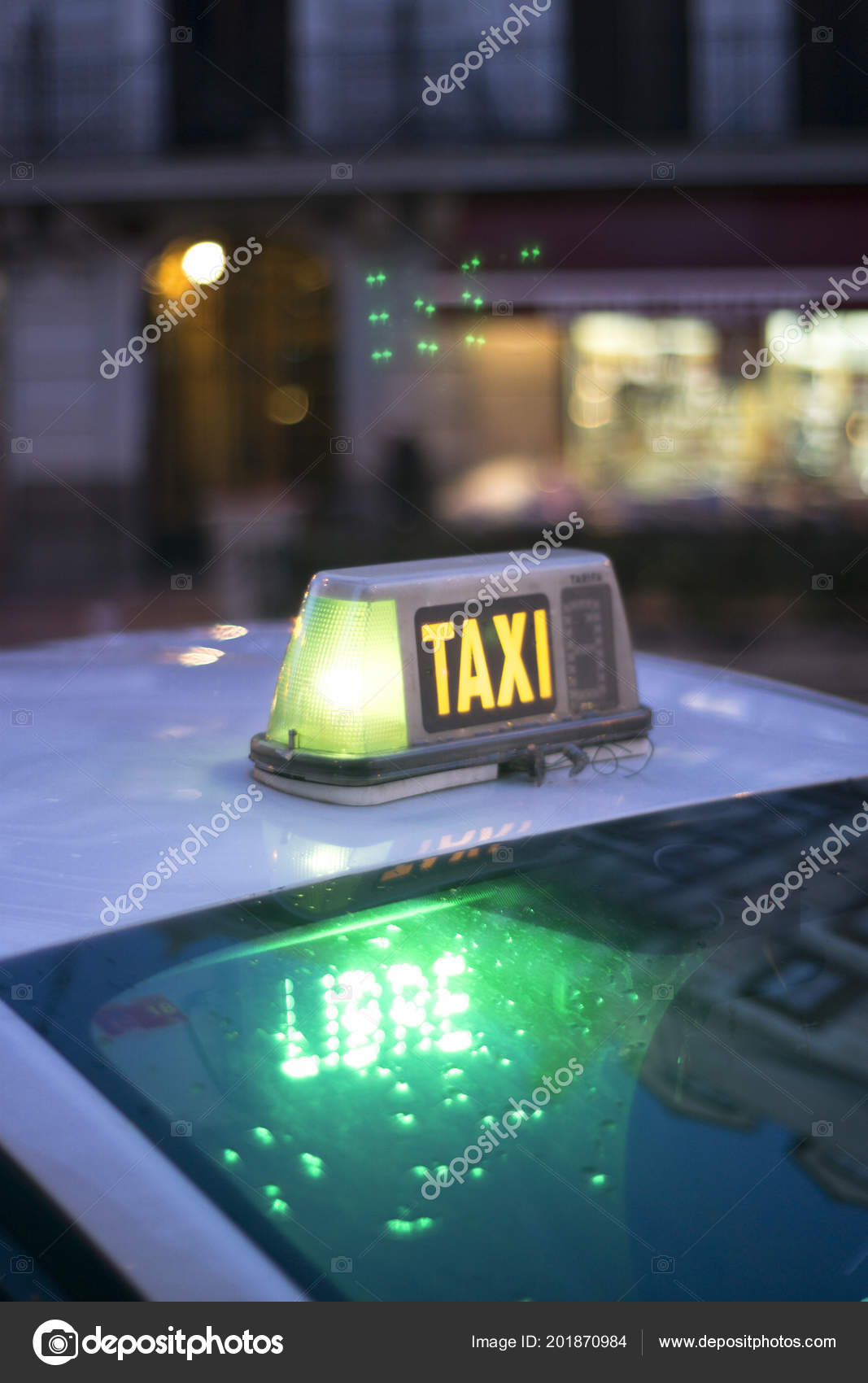 City Street Madrid Spain Taxi Cab Light Night Lit Green