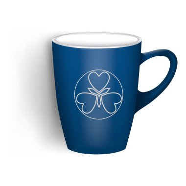Blue cup icon, realistic style