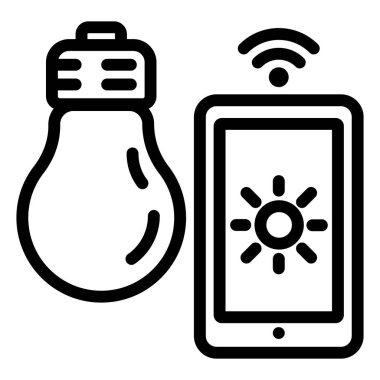 Smart bulb control icon, outline style