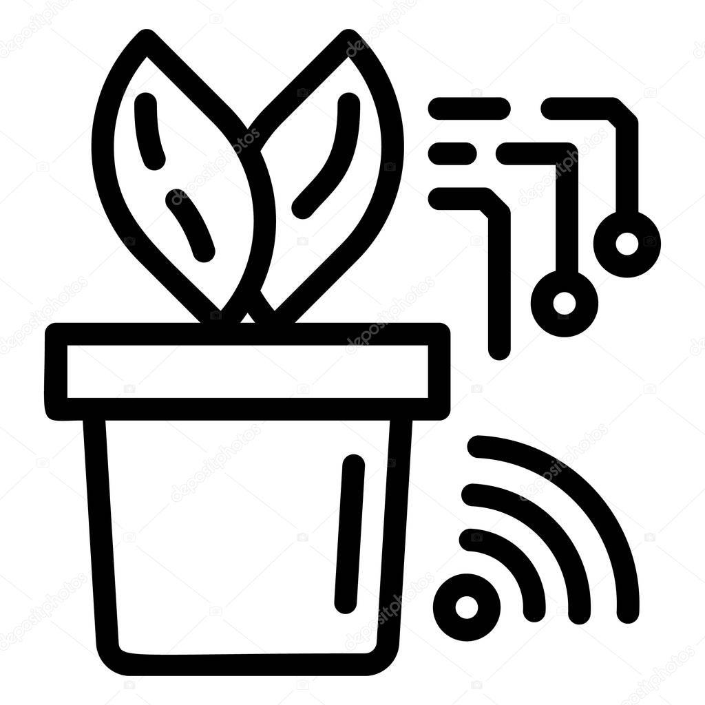 Smart plant pot icon, outline style