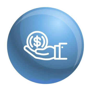 Coin in hand icon, outline style