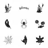 Fényképek Halloween time icon set, simple style