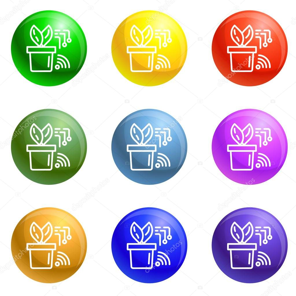 Smart plant pot icons set vector