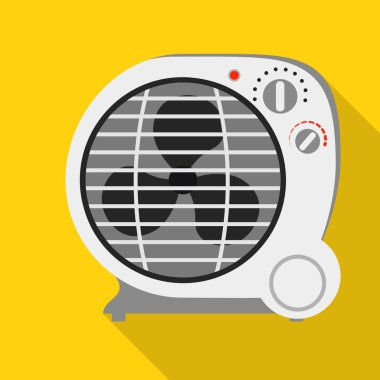 Round fan heater icon. Flat illustration of round fan heater vector icon for web design clip art vector