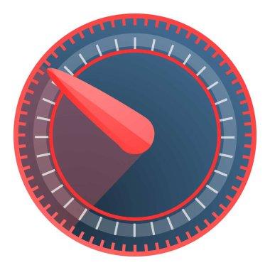 Red blue speedometer icon, cartoon style