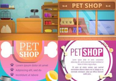 Pet store banner set, cartoon style