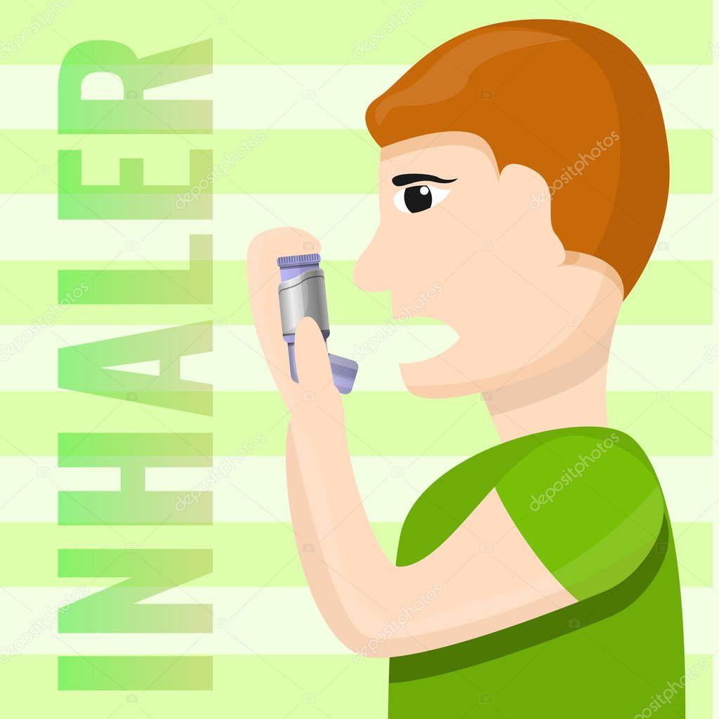 People inhaler use concept background, cartoon style
