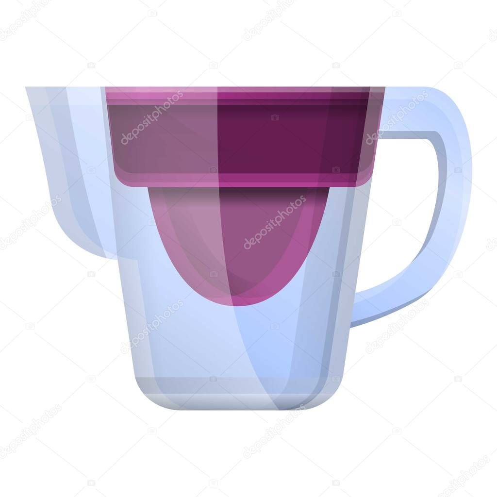 Glass water jug filter icon, cartoon style