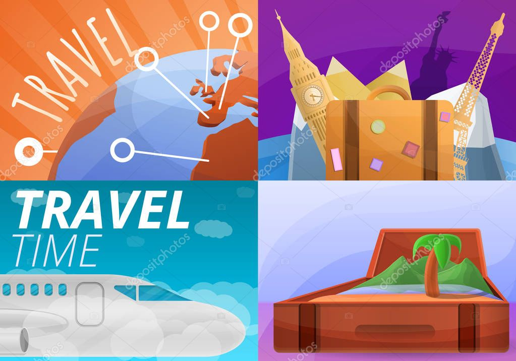 Agency travel banner set, cartoon style