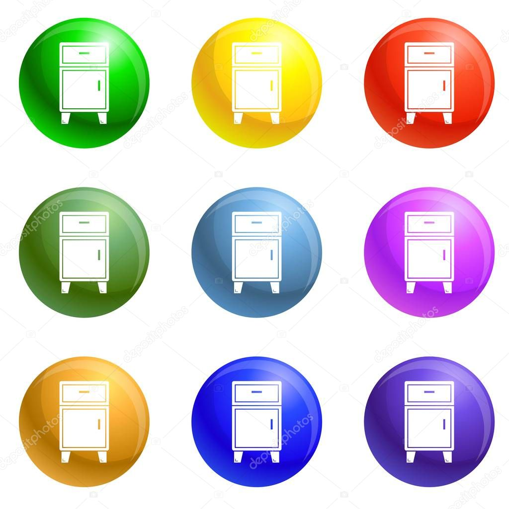 Modern nightstand icons set vector