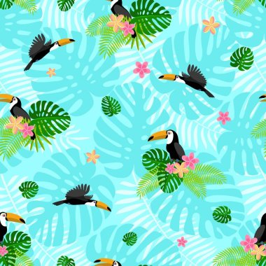 Toucan tropical flower pattern, flat style