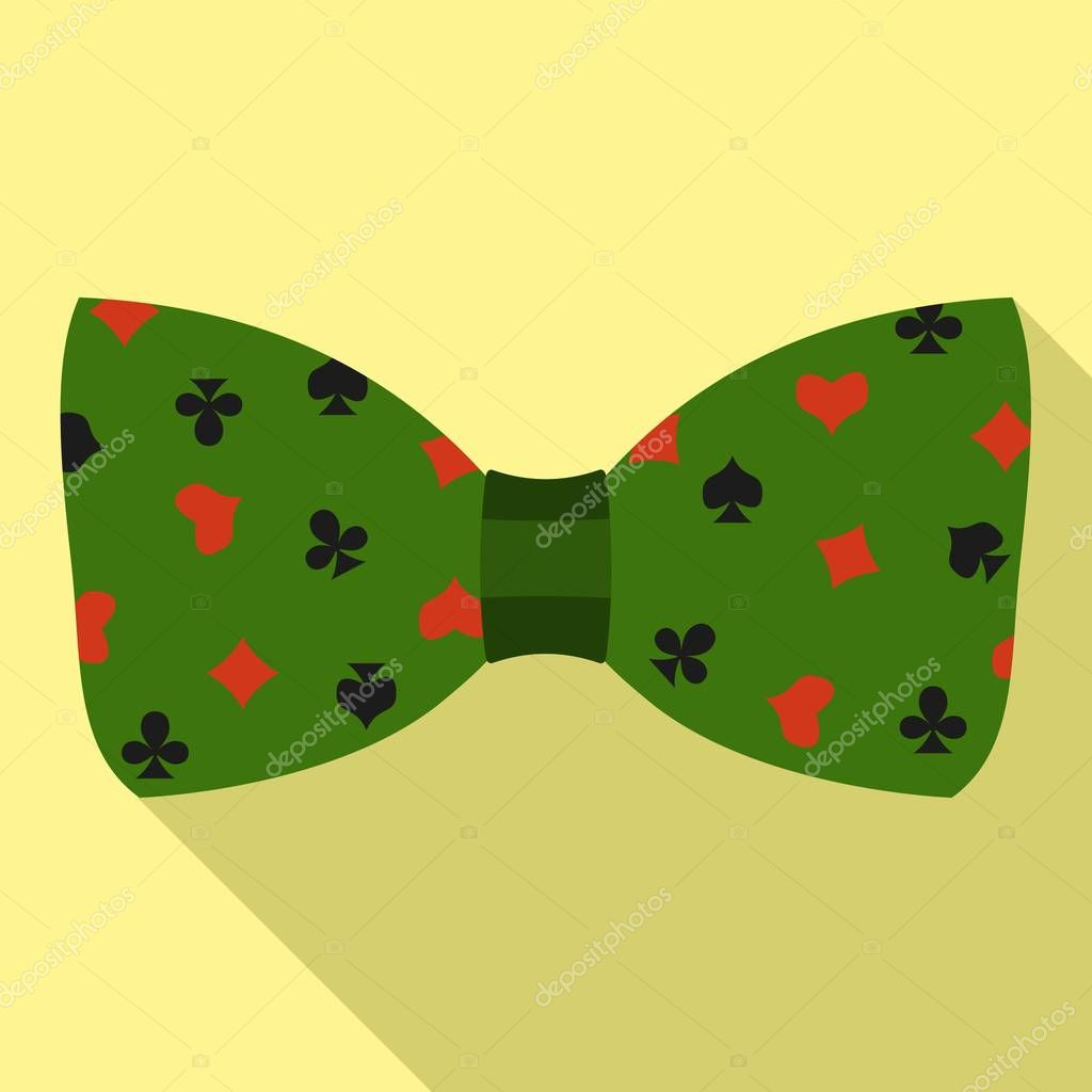 Green play cards bow tie icon, flat style