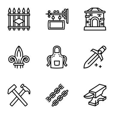 Blacksmith collection icon set, outline style