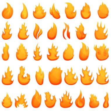 Fire flame icons set. Cartoon set of fire flame vector icons for web design icon
