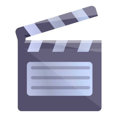 Video editing clapper icon, cartoon style