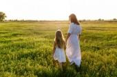 Fotografie Mutter und Tochter Hand in Hand- und Wanderwege durch grüne Wiese mit Sonnenuntergang Himmel Hintergrund
