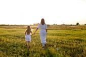 Rückansicht von Mutter und Tochter in weißen Kleidern, die sich Händchen haltend in der grünen Wiese bei Sonnenuntergang laufen