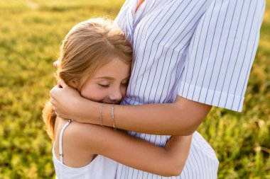 Cropped shot of daughter embracing her mother on sunset stock vector