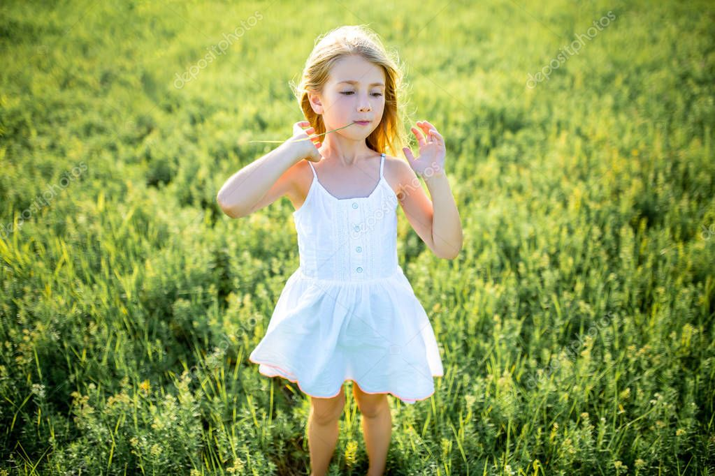 adorable little child in white dress posing in green field
