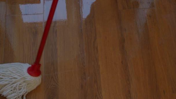 bílý bavlněný mop myje doma dřevěné laminátové podlahy