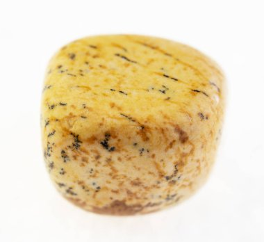 macro photography of natural mineral from geological collection - polished yellow sandy jasper stone on white background