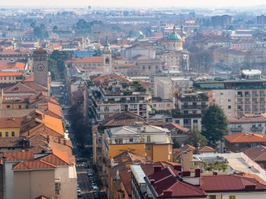 view Lower Town with churches in Bergamo city