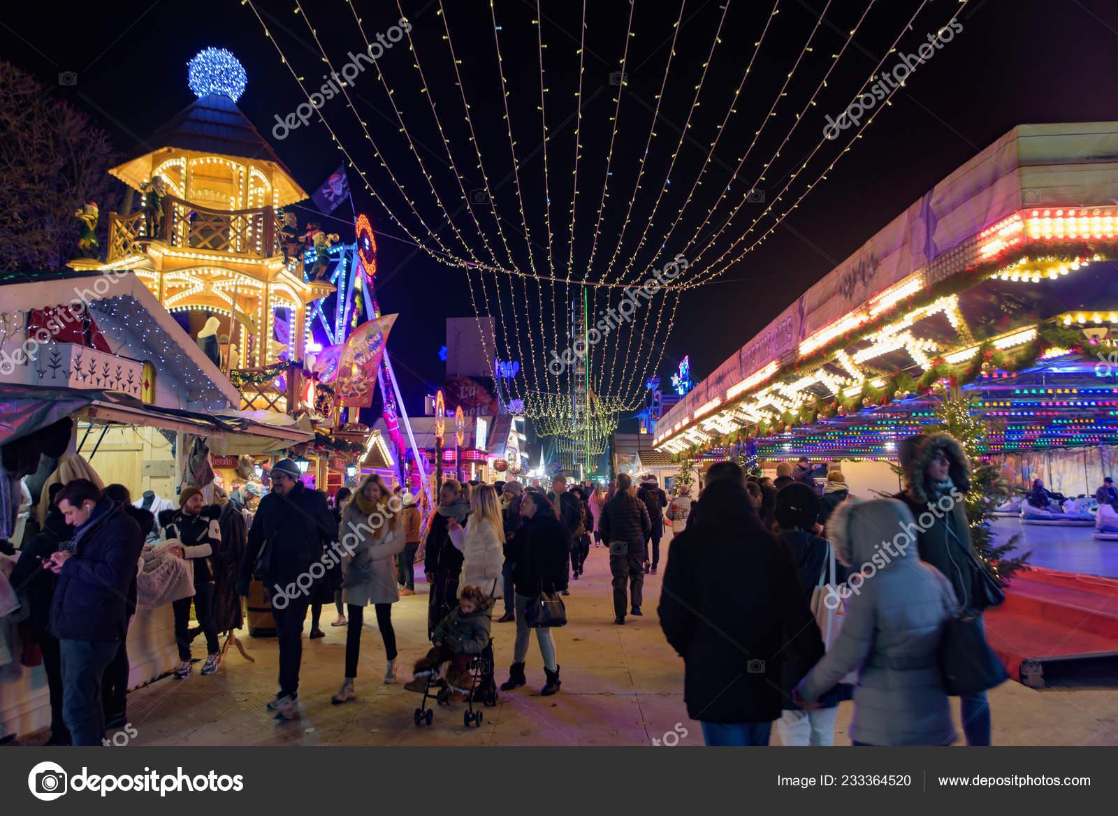 2018 Christmas Market Tuileries Gardens Paris France Stock