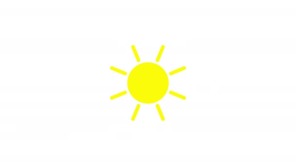 Sunshine icon animation with white background. Icon design. Video Animation. Bright Sun Isolated Cartoon Animation