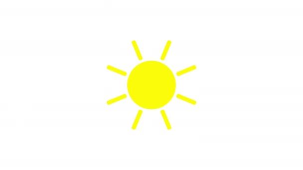 Animace ikon slunečního svitu s bílým pozadím. Design ikon. Video animace. Izolovaná animace kreslených filmů s jasným sluncem
