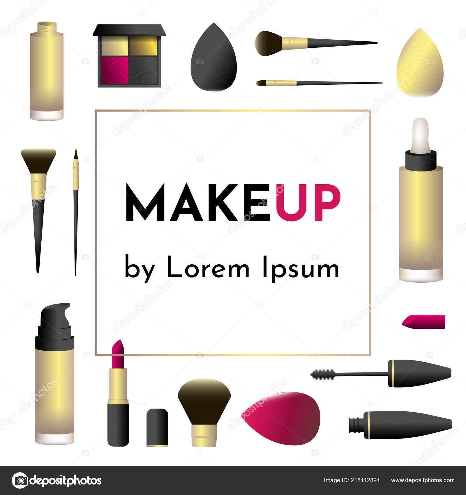 Vector Illustration Carte De Visite Pour Maquilleur Ou Salon Studio Avec Makeup Tools Brosses Bouteilles Goutte Fondation Palette Ombre